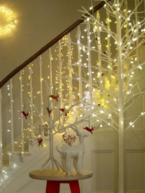 if you have several sets of white lights and your stairs are also of this color install them on each of the bars of the stair rail